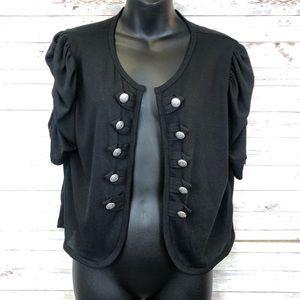 Cute Black Lightweight Knit Shrug Sweater Button